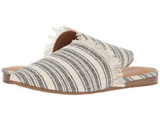 New In Box Womens Lucky Brand BAPSEE Black/Natural Fabric Mule Flats Shoes