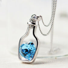 Love Bottle Silver Plated Girl Charm Necklace Gift Women Pendant Fashion Jewelry
