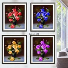 5D Rose Vase Diamond Painting Mosaic Embroidery DIY Craft Cross Stitch OO55