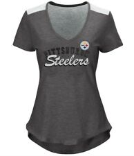 Pittsburgh Steelers NFL Women's Gray V-neck Short Sleeve Tee T-shirts: S-L