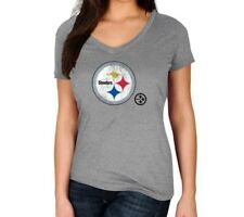 Pittsburgh Steelers NFL Women's Gray Team V-neck Short Sleeve Tee T-shirts: S-XL