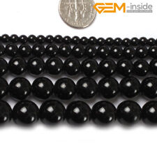 """Natural Round Black Agate Onyx Gemstone Loose Beads For Jewellery Making 15"""" CA"""