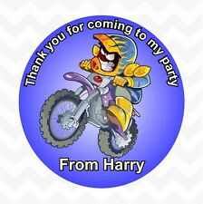 Dirt Bike personalised birthday party favour thank you stickers custom name