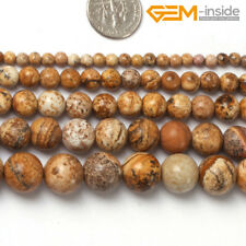 """Natural Picture Jasper Round Gemstone Loose Spacer Beads Jewellery Making 15"""" CA"""