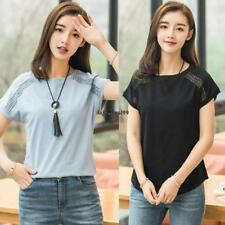 Women Casual Hollow Out Solid Batwing Sleeve Loose T-Shirt OO55