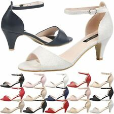 WOMENS SHOES LADIES MID HEEL PUMPS OCCASION BRIDAL DRESSY EVENING OFFICE SANDALS