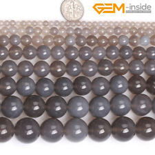 """Natural Gray Agate Onyx Round Stone Beads For Jewellery Making Loose Beads 15""""CA"""