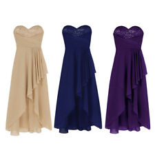 Womens Long Chiffon Gown Party Prom Cocktail Wedding Bridesmaid Evening Dress