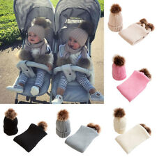 Baby Kids Boys Girls Winter Cap Knitted Faux Fur Pom Bobble Beanie Hat Scarf Set