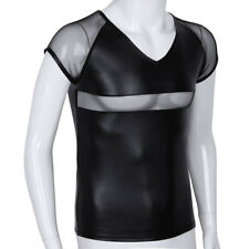 Men's Slim Fit V Neck Short Sleeves Leather Muscle Tee Shirts Mesh T-shirt Tops