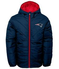 New England Patriots NFL Boys' Navy Hooded Quilted Jackets Jacket/Coat: XS-XL