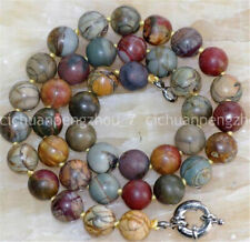 6-14mm natural multicolor Picasso jasper round beads necklace Length optional