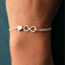 Gold Silver Lucky Number 8 Designed Love Heart Chain Bracelet Bangle Jewelry#%