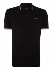 Armani Jeans Mens Black Cotton Pique Slim-Fit Polo Shirt All Sizes