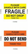 "2 x 3 YELLOW FRAGILE STICKER / 2"" X 3"" DO NOT BEND ORANGE STICKER WORLDWIDE QS"