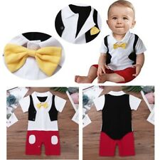 Baby Boys Lapel Bowtie Gentleman Romper Toddler Cartoon Jumpsuit Playsuit Party