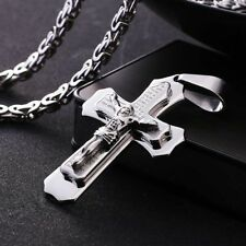 Mens Silver Tone Stainless Steel Byzantine Chain Jesus Cross Bible Necklace 1PC