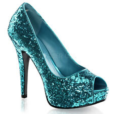 Fabulicious TWINKLE-18G Shoes Turquoise Glitter Platforms Open Toe Slip On Heels