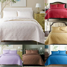 3 Piece Cotton Bedspread Quilted Coverlet Set King Queen Size Pillowcases Colors
