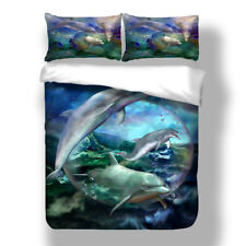 Sea Dolphin Duvet Cover Pillow Case Quilt Cover Bedding Set Twin Queen King New