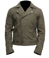 Men's Grey Classic Rider Style Suede Motorcycle Leather Biker Jacket