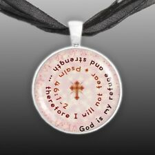 "God Is My Refuge and Strength .. Psalm 46:1-2 Quote Cross 1"" Pendant Necklace ST"