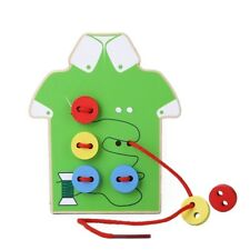 Wooden Puzzle Educational Toy Sewing Lacing Buttons Beads Jigsaw Board Kids Toys