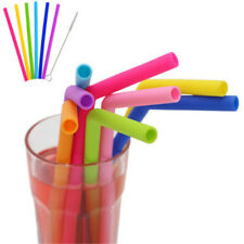7pcs Silicone Reusable Drinking Straws with Cleaning Brush Colorful Drink Straw