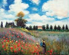 Famous Canvas Wall Oil Painting Reproduction Poppy Field in Argenteuil by