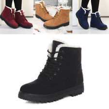 Women's Winter Fur Lined Flats Casual Snow Ankle Boots Suede Thicken Warm Shoes