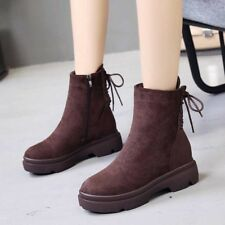Womens Martin Boots Suede Platform Ankle Snow Fur Lined Lace Up Casual Shoes Zip