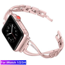 Metal Watch Band Strap For Apple Watch Series 4 3 Bling Wristband 38/42/40/44 mm