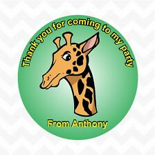Giraffe personalised birthday party favour thank you stickers custom name cheeky