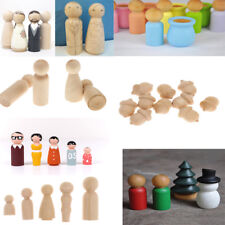 Blank DIY Wooden People Peg Dolls Wedding Cake Toppers Craft Toys