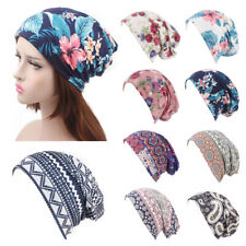 Ruffle Flower print Head Wrap Cap Cancer Chemo Hat Women Turban Elastic