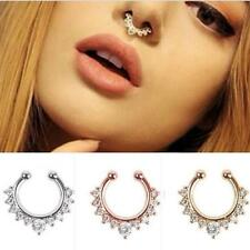 1Pc Fake Septum Clicker Crystal Nose Ring Non Piercing Hanger Clip On Jewelry FC