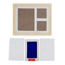 MagiDeal Crude Wood Photo Picture Frame Baby Handprint Footprint Memory Kit