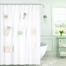 GoodGram Water Resistant Fabric Shower Curtain Liner with Pockets White