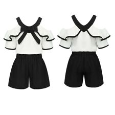 2PCS Kids Girls Summer Outfits Off Shouder Tops with Shorts Clothes Set Fashion