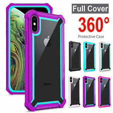 360° Shockproof Heavy Duty Case Cover For iPhone X XS MAX 7 8 Plus+9H Glass Film