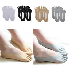 2 Pairs Womens Five Toe Socks NO Show Mesh Socks, Low Cut Liner with Gel Tab