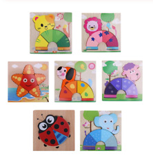 Wooden Jigsaw Puzzles Kids Toy Cartoon Animals Educational Children Learning Toy
