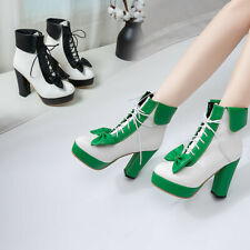 Women Block High Heel Ankle Boots Platform Lace Up Princess Lolita Shoes Cosplay