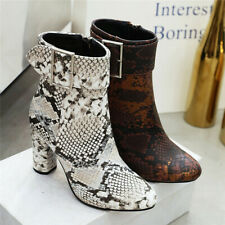 New Womens Snakeskin High Heel Ankle Boots Side Zip Up Dress Shoes Buckle Strap