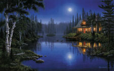 Modern Home Decor oil painting Moon lake Landscape Print on Canvas Art Wall
