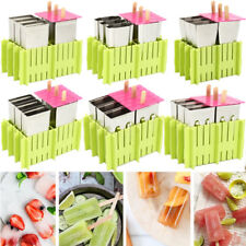 6Pcs/set Stainless Steel DIY Molds Ice Lolly Popsicle Ice Cream Mould Holder NEW