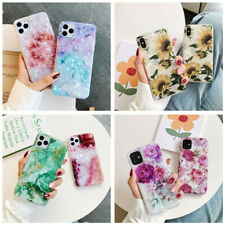 Case For iPhone 11 Pro XS Max XR 8 7 Plus 6 Luxury Marble Flower IMD Soft  Cover