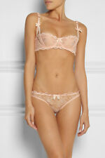 AGENT PROVOCATEUR PEACH LOVE LACE DEMI BRA 32B/D 34D 36D & BRIEF 4L OR 5 XL BNWT