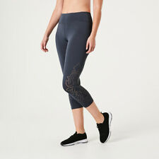 Active Women's Laser Cut Crop Leggings Wide Elastic Waistband R1