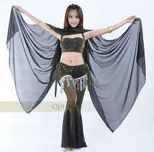 SV01# Belly Dance Costume Chiffon Veil Shawl with Gold Trim 12 Colors
